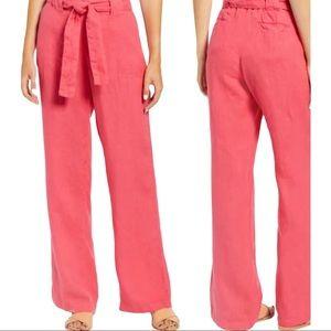 CASLON Linen Pants Belted Elastic Waist Pink Red S